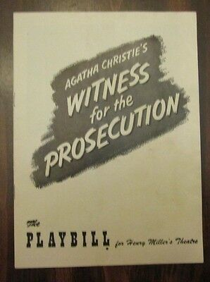 Witness for the Prosecution Playbill Henry Miller's Theatre New York April 1956