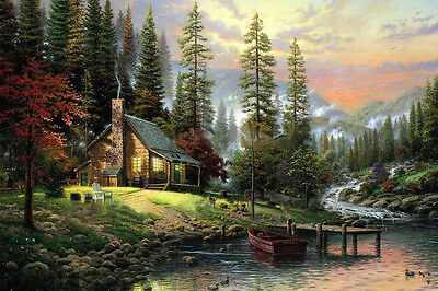 BNIP Oil-on-Canvas Painting Kit : Forest Home 40 x 60cm