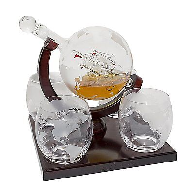 Whisky Alcohol Decanter Set Glass Cut No Lead Italian Hand Made Crystal 4 Piecе