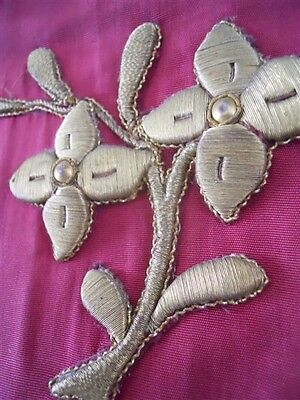 2 Antique French Silk Valance Gold  Metallic Embroidery  19Th-Century