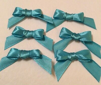 30 Turquoise Blue 10mm Ribbon bows �� for card making/scrap booking help charity