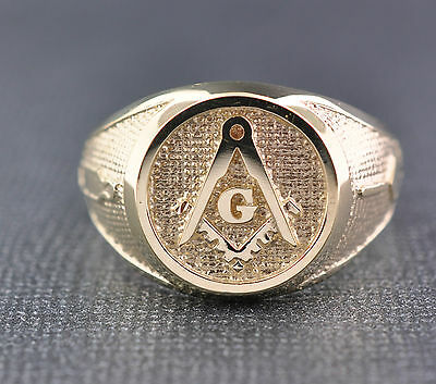 LARGE SIZE Solid 10K Two Gold Masonic Ring Freemason Master Mason Ring