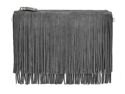 HButler Mighty Purse Clutch Fringe Grey Cell Phone Charger On the Go