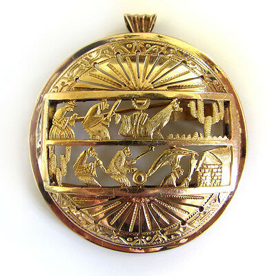 Vtg Estate Antique Peruvian Mexican 18K Solid Gold 11g Pendant Pin Story Brooch