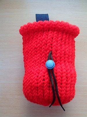 New Hand Made Knitted Chalk Bag for Rock Climbing Bouldering Red