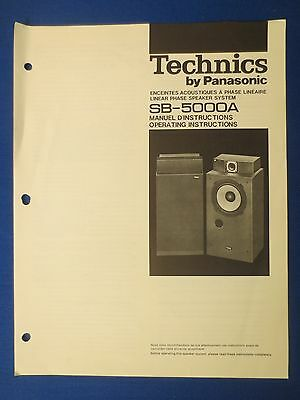Technics Sb-5000A Speakers Owner Instruction Manual Original Factory Issue