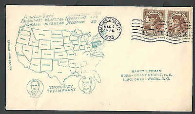 1933 Mar 4 Cover Fdr Inaugurated U.s. Map Cacheted  $125.00