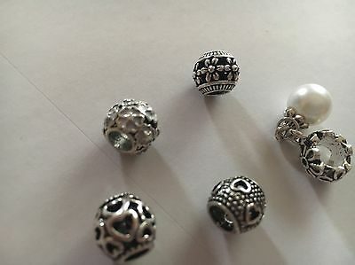 Lot of  5 PCS  Silver Plated Charm Beads Fit European Charm Bracelet
