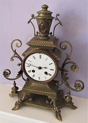 French Brass Mantle Clock By Henry Marc