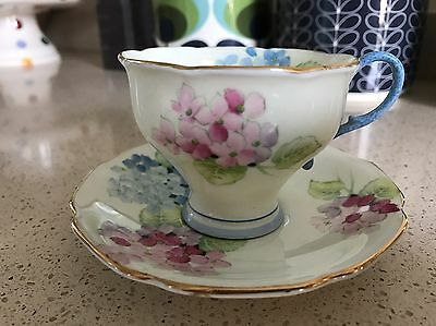 Beautiful Paragon Fine China Small Tea Cup & Saucer 'hortensia'