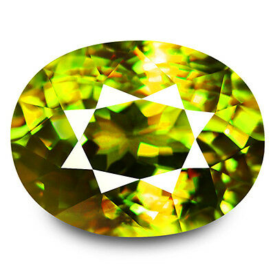 4.32ct LOUPE CLEAN NATURAL EARTH MINED AAA MULTI CLR YELLOW GREEN SPHENE RUSSIA