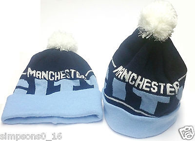 Manchester City Hat Navy Blue White Bobble Hat Football Club Gifts
