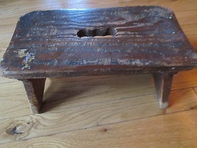 "Vintage Primitive Milking Bench/Footstool-Wood- 7""Height - 7"" Width - 13"" Length"
