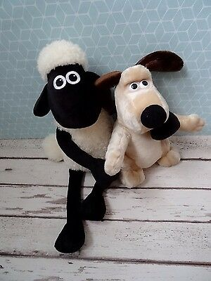 Gromit and Shaun Plush Soft Toys - Excellent Condition