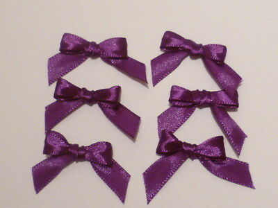 10 Regal Purple 10mm Ribbon bows �� for card making/scrap booking help charity