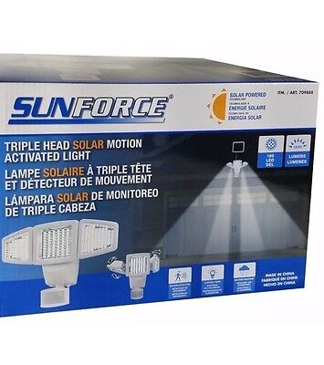 Sunforce Triple Head Solar Motion Activated Light 180LED 1200 Lumens NOSALESTAX