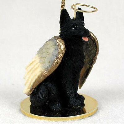 GERMAN SHEPHERD (BLACK) ANGEL DOG CHRISTMAS ORNAMENT HOLIDAY Figurine Statue