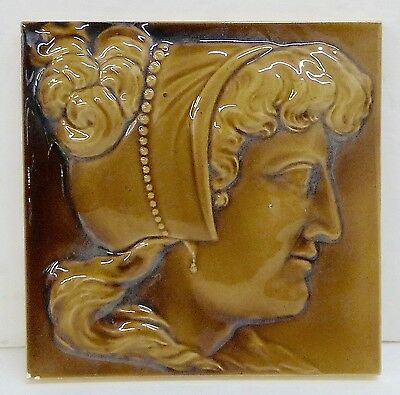 Minton Hollins & Co. Antique Victorian Female Silhouette Tile