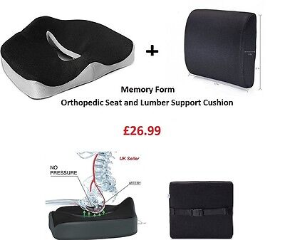 Orthopedic Seat Memory Foam & Back Lumbar Cushion Tail Bone Coccyx Pain Relief