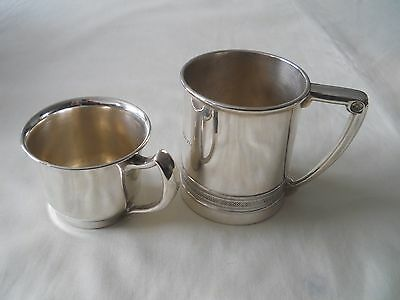 Two Sterling Silver Christening Mugs Baby Cups