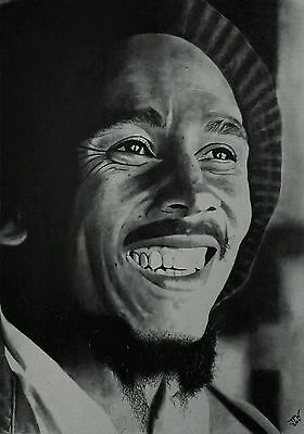 ORIGINAL pencil drawing/sketch portrait picture of reggae music icon Bob Marley