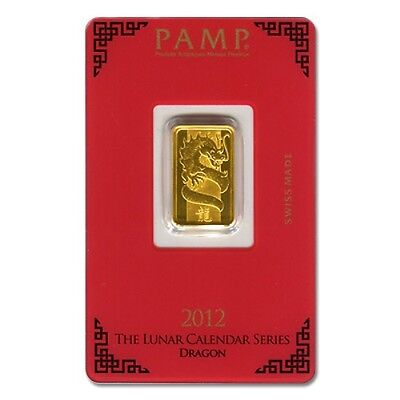 PAMP SUISSE 2012 Year of the Dragon 5g (gram) Gold Bar .9999 PURE