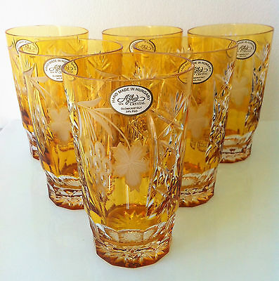 New Ajka Marsala Amber Gold Cased Cut To Clear Crystal Highball, Set Of 6