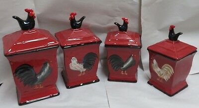"""ACK """"Roamer Rooster' Hand Painted Ceramic 4 Piece Canister Set # 86701 New"""