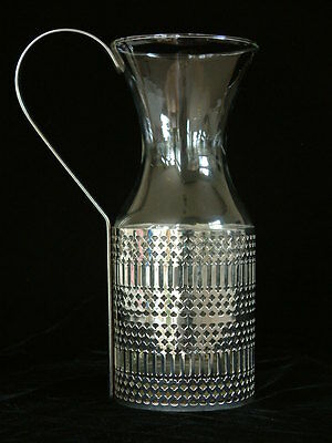 Celtic English Pierced Decorative Silver Plate Silverplated Glass Carafe Pitcher