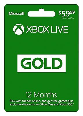 12 Month / 1 Year Xbox Live Gold Membership for XBOX / XBOX 360 / XBOX ONE