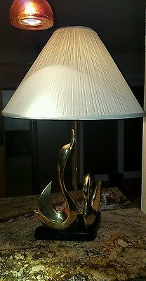 VINTAGE ART DECO TROPICAL BRASS  SWAN TABLE  LAMP - 33 inches tall. Leviton