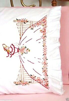 """Fairway Stamped Embroidery kit 20"""" x 30"""" Pillowcases ~ FENCE LADY #82567 Sale"""