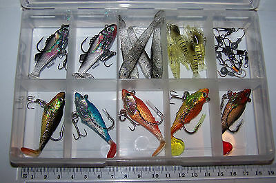 Fishing lures tackle box SOFT PLASTIC LURES, PADDLE TAIL, PRAWNS, JIG HEADS.  #9