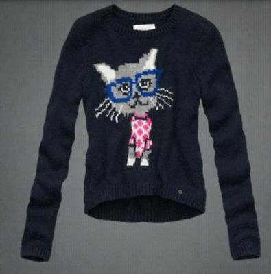 "NWT Abercrombie Kids girl ""cat"" sweater size L"
