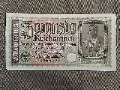 FROM ARGENTINIAN GERMANY NAZI FAMILY, Reichsmark Banknote SWASTIKA, 20 Mark #2