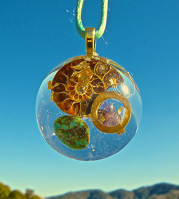 ANCIENT AMMONITE Orgone Dome Pendant AMETHYST and KINGMAN TURQUOISE. Orgonite.