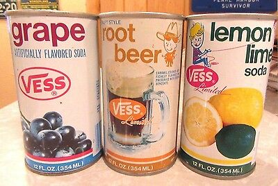 1970's 3 Different Straight Steel VESS Pull Tab  Soda Cans