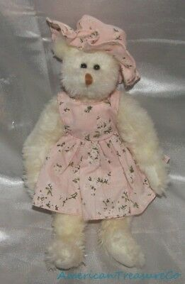"RARE Ty Attic Plush Beanie Jointed 11"" White Nola Bear w/Pink Floral Dress & Hat"