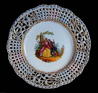 Antique 1880 Reticulated Carl Thieme Dresden Hand Painted Cabinet Plate!