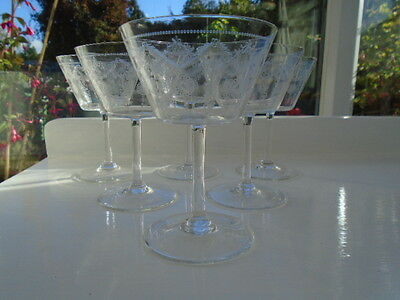 20's EDWARDIAN  SET OF SIX ETCHED ENGRAVED CHAMPAGNE SAUCERS COCKTAIL GLASSES