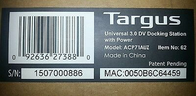 TARGUS ACP71AU USB 3.0 SuperSpeed DUAL VIDEO Docking Station + Power Supply