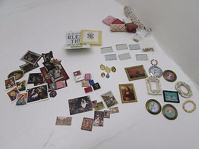 Mixed Dolls House Miniature Lot Of Pictures Frames Glasses  Cushions Doorknobs +