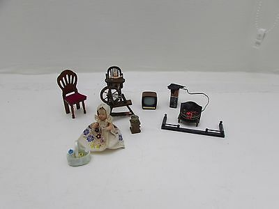 Mixed Collection Of Miniature Dolls House Furniture Coffee Grinder Jointed Doll
