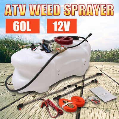 60L ATV Weed Sprayer 12V Pump Driven Tank Garden Farm Spray Boom Spot Wand NEW