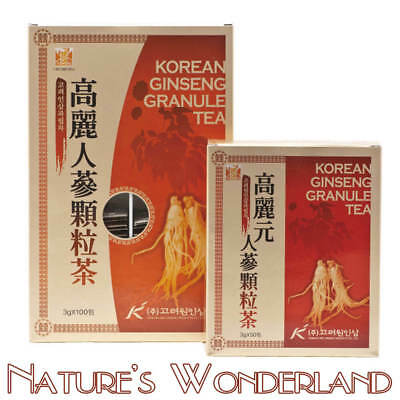 Korean GINSENG Granule TEA Extract White Ginseng Root avail 50 or 100 3g sachets