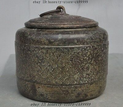 Marked Old Chinese Dynasty pure bronze Copper Pot Tank Jar Crock Tea caddy