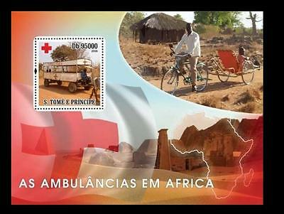 S. Tome MNH SS, Traditional Ambulance, Africa, Red Cross, Bicycle, Bullock C-R57