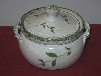 Owen Pottery (Seagrove, Nc)  Covered Casserole Bowl, Green Ivy