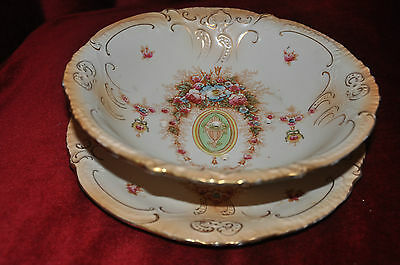 Crown Devon Strainer Bowl & Under Plate Set in 'Lune' Pattern