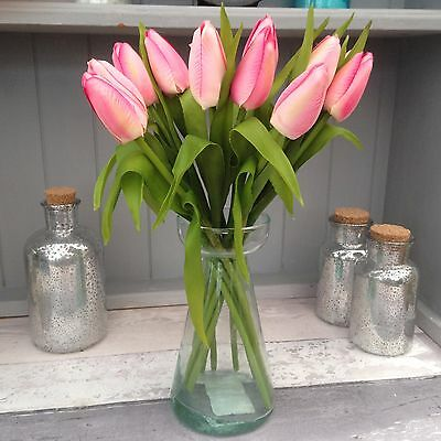 Bunch of Pink Tulips, Real Touch Leaves Artificial Silk Flowers 12 Stems